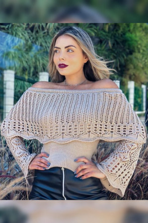 Cropped Tricot Off Shoulder com Babado