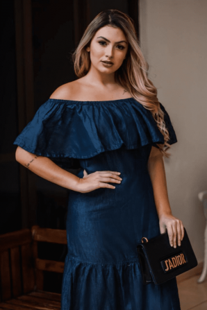 VESTIDO OFF SHOULDER COM BABADOS